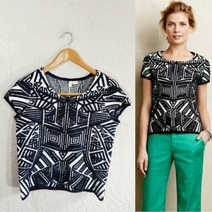 Moth {Anthropologie} Dahlia Jacquard Pullover Top